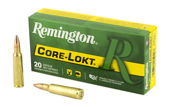 Remington Core Lokt, 250 Savage, 100 Grain, Pointed Soft Point, 20 Round Box 29077, UPC : 047700052403