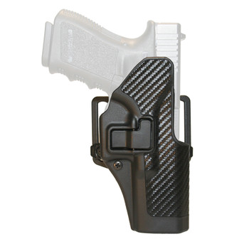 BLACKHAWK! CQC SERPA Holster With Belt and Paddle Attachment, Fits Glock 17/22/31, Right Hand, Carbon Fiber, Black 410000BK-R, UPC :648018011153