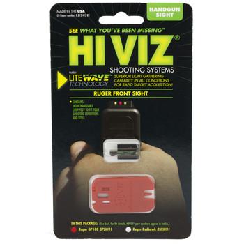 Hi-Viz Litewave Sight, Fits Ruger GP100, 3 Color Red, White, Green, Front GPLW01, UPC :613485589023