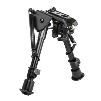 "NCSTAR Bipod, Black, Spring Loaded Folding Action, Notched Legs, 3 Adapters Included (AR-15 GI Handguard, Universal Barrel Mount, Weaver/Picatinny Type Rail with Sling Stud), Fits Most Rifles, 5.5""-8"" ABPGC2, UPC :814108016913"