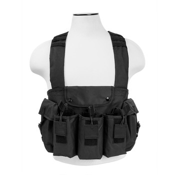 NCSTAR AK Chest Rig, Black, Holds (6) AK Magazines, Nylon, Also includes One Belly Pouch for Additional Equipment and Two Gear Pouches CVAKCR2921B, UPC :814108016623