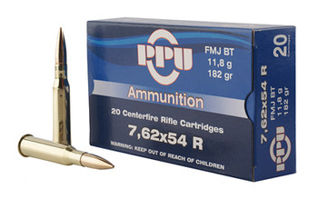 Prvi Partizan Rifle, 762X54R, 182 Grain, Full Metal Jacket, 20 Round Box PP76254F, UPC :8605003812883