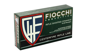 Fiocchi Ammunition Rifle, 22-250, 55 Grain, Pointed Soft Point, 20 Round Box 22250B, UPC :762344707433