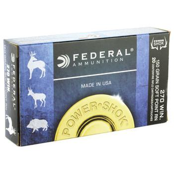 Federal PowerShok, 270WIN, 150 Grain, Soft Point, Round Nose, 20 Round Box 270B, UPC : 029465084363
