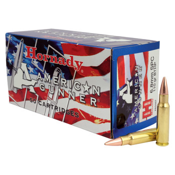 Hornady American Gunner, 6.8SPC, 110 Grain, Boat tail Hollow Point, 50 Round Box 83467, UPC : 090255834673