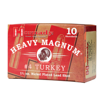 "Hornady Heavy Magnum Turkey, 12Ga 3"", #4 Shot, 10 Round Box 86242, UPC : 090255862423"