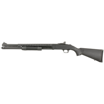 "Mossberg 500, Pump, 12Ga 3"", 20"", Matte Blued, Synthetic, Right Hand, w/Heat Shield, Cylinder, 3"", 7Rd, Ghost Ring Sight 50567, UPC : 015813505673"