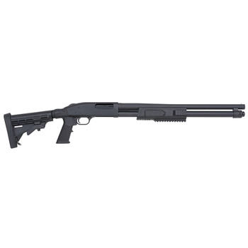 "Mossberg 590, Pump Action, 12 Gauge, 3"" Chamber, 20"" Cylinder Barrel, Blue Finish, 6 Position Collapsible Stock, Bead Sights, 8Rd 51672, UPC : 015813516723"