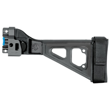 SB Tactical Folding Pistol Brace, Adjustable Nylon Stabilizing Strap, Folding, Fits MP5k SP89, And SP5K, Will not fit MP5 and Reverse Stretch MP5K Clones, Aluminum MP5K Adapter, Black SBT5KA-01-SB, UPC :699618782523