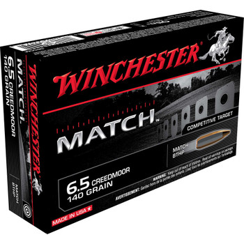 Winchester Ammunition Match Ammunition, 6.5 CREEDMOOR, 140 Grain, Boat Tail Hollow Point, 20 Round Box S65CM, UPC : 020892220713
