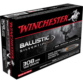 Winchester Ammunition Ballistic Silvertip, 308 Win, 168 Grain, 20 Round Box SBST308A, UPC : 020892210363