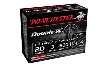 "Winchester Ammunition Double X High Velocity, Turkey, 20 Gauge, 3"", #4, 1 5/16oz, 10 Round Box STH2034, UPC : 020892016903"