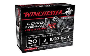 "Winchester Ammunition Long Beard XR, 20 Gauge, 3"", #6, 1 1/4 oz, Shotshell, Shot-Lok with Plated Lead Shot, 10 Round Box STLB2036, UPC : 020892021563"