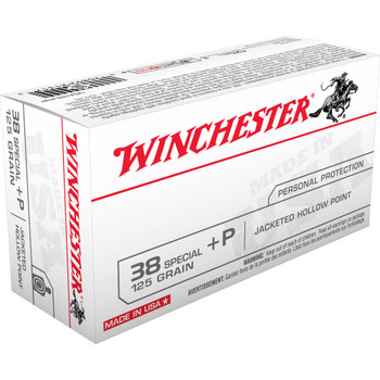 Winchester Ammunition USA, 38 Special, 125 Grain, Jacketed Hollow Point, +P, 50 Round Box USA38JHP, UPC : 020892213173