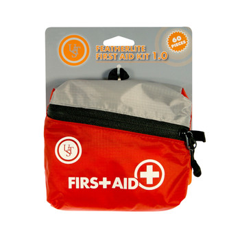 """UST - Ultimate Survival Technologies Featherlite First Aid Kit, 60 Pieces, Red Finish, Contains: Acetaminophen (2), Antibiotic Ointment Packets (2), Antiseptic Towelettes (12), Aspirin Tablets (2), Bandages Adhesive 1"""" x 3""""(5), Bandages Adhesive 3"""" x"""