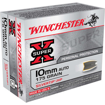 Winchester Ammunition Super-X, 10MM, 175 Grain, Soft Tip Hollow Point, 20 Round Box X10MMSTHP, UPC : 020892202153