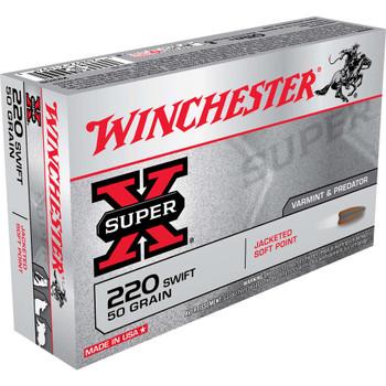 Winchester Ammunition Super-X, 220 Swift, 50 Grain, Pointed Soft Point, 20 Round Box X220S, UPC : 020892210943