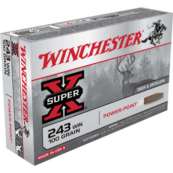 Winchester Ammunition Super-X, 243WIN, 100 Grain, Power Point, 20 Round Box X2432, UPC : 020892200043