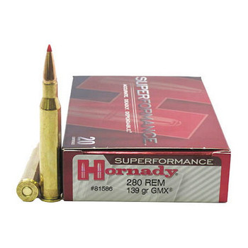 Hornady Superformance GMX Ammunition 280 Remington 139 Grain GMX Boat Tail Lead-Free Box of 20, UPC : 090255815863