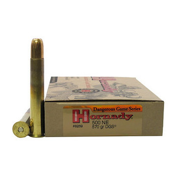 "Hornady Dangerous Game Ammunition 500 Nitro Express 3"" 570 Grain DGS Round Nose Solid Box of 20, UPC : 090255382693"