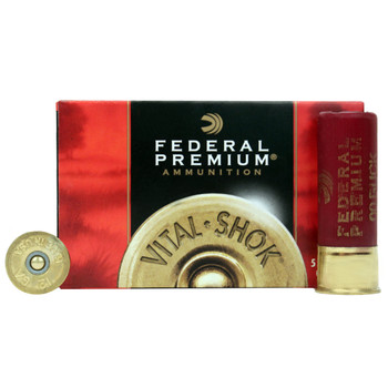 "Federal Premium Vital-Shok Ammunition 12 Gauge 2-3/4"" Buffered 00 Copper Plated Buckshot 12 Pellets Box of 5, UPC : 029465001193"