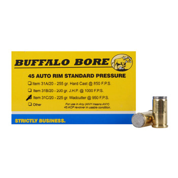 Buffalo Bore Ammunition 45 Auto Rim (Not ACP) 225 Grain Hard Cast Lead Wadcutter Box of 20, UPC :651815031033