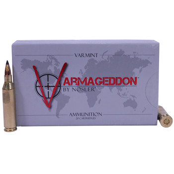 Nosler Varmageddon Ammunition 243 Winchester 55 Grain Tipped Flat Base Box of 20, UPC : 054041651653