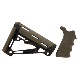 AR-15/M-16 Kit - Finger Groove Beavertail Grip and OverMolded Collapsible Buttstock - Fits Commercial Buffer Tube - OD Green Rubber, UPC :743108152553