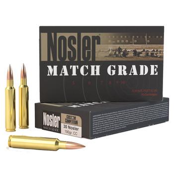 Nosler Match Grade Ammunition 30 Nosler 190 Grain Custom Competition Hollow Point Boat Tail Box of 20, UPC : 054041600293