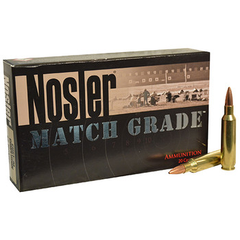 Nosler Match Grade Ammunition 22 Nosler 77 Grain Custom Competition Hollow Point Boat Tail Box of 20, UPC : 054041600163