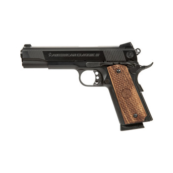 "American Classic 1911, Full Size, 45ACP, 5"" Barrel, Blue Finish, Wood Grips, Novak Low Mount Carry Sights, 1 Magazine, 8 Rounds AC45G2, UPC : 094922796424"