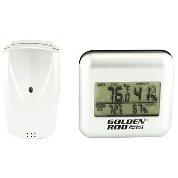 Battenfeld Golden Rod, Humidity Display, Easy Read LCD Screen, In-Vault Temperature Range : 14F to 122F, Measuring Humidity From 20% to 95%, In-Room Temperature Range: -4F to 158F 222532, UPC :661120225324