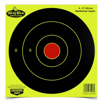 "Birchwood Casey Dirty Bird Target, Bullseye, 8"", 8 Targets, Yellow 35908, UPC : 029057359084"