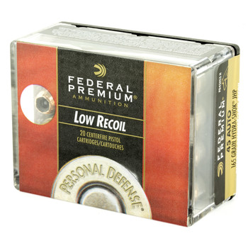Federal Personal Defense, Hydra-Shok, 45ACP, 165 Grain, Jacketed Hollow Point, Low Recoil, 20 Round Box PD45HS3H, UPC : 029465091514