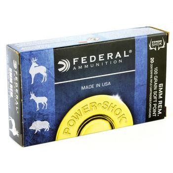 Federal PowerShok, 6MM REM, 100 Grain, Soft Point, 20 Round Box 6B, UPC : 029465084394