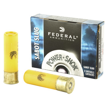 "Federal PowerShok, 20 Gauge, 2.75"", .875oz, Sabot Slug, Hollow Point,5 Round Box F203SS2, UPC : 029465027384"