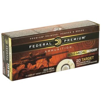 Federal Gold Medal, 223 Remington,  73 Grain, Berger Hybrid BTHP, 20 Round Box GM223BH73, UPC :604544624014