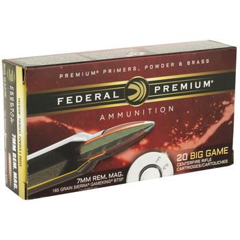 Federal Vital-Shok, 7MM REM, 165 Grain, Boat Tail, Soft Point, 20 Round Box P7RE, UPC : 029465084424