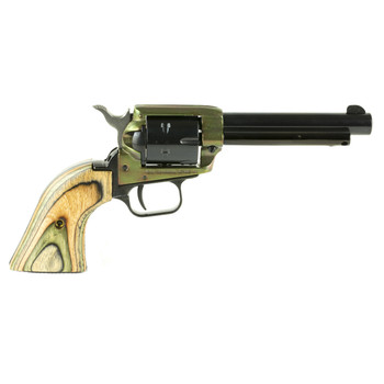 """Heritage Rough Rider, Single Action Army Revolver, 22LR/22WMR, 4.75"""" Barrel, Alloy Frame, Simulated Case Hardened Finish, Camo Laminate Grips, Fixed Sights, 6Rd, Right Hand 22MCH4, UPC :727962503904"""
