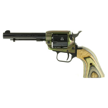"Heritage Rough Rider, Single Action Army Revolver, 22LR/22WMR, 4.75"" Barrel, Alloy Frame, Simulated Case Hardened Finish, Camo Laminate Grips, Fixed Sights, 6Rd, Right Hand 22MCH4, UPC :727962503904"