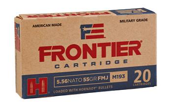 Frontier Cartridge Lake City, 556 NATO, 55 Grain, FM193, FMJ, 20 Round Box FR200, UPC : 090255711394