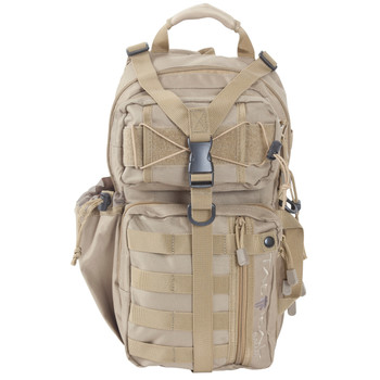 """Allen Lite Force Tactical Sling Pack, Tan Endura Fabric, Sling Design, Padded Adjustable Single Shoulder Strap, Conceal Carry Compatable, Large Main Compression Strap, Water Bottle and Sunglasses Pockets, Hydration Compatible, 18""""x9.75""""x7.5"""", 1200 Cu"""
