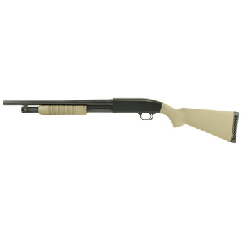 "Mossberg 88 Maverick, Pump Action Shotgun, 12 Gauge, 3"" Chamber, 18.5"" Barrel, Cylinder Bore, Blued Finish with Flat Dark Earth Synthetic Stock, Bead Sight, 5Rd 31022, UPC : 049533310224"