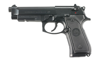 "Beretta M9A1, Double Action, Full Size, 9MM, 4.9"" Barrel, Alloy Frame, Matte Black Finish, Polymer Grips, 3 Dot Sights, Ambidextrous Safety, 2 Magazines, 10 Rounds JS92M9A1, UPC : 082442816784"