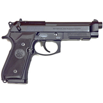 "Beretta M9A1, Double Action, Full Size, 9MM, 4.9"" Barrel, Alloy Frame, Matte Black Finish, Polymer Grips, 3 Dot Sights, Ambidextrous Safety, 2 Magazines, 15 Rounds JS92M9A1M, UPC : 082442817194"