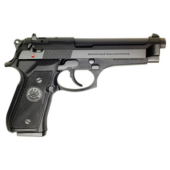 "Beretta 92FS, Double Action Pistol, Full Size, 9MM, 4.9"" Barrel, Alloy Frame, Blue Finish, Plastic Grips, 3 Dot Sights, Ambidextrous Safety, 2 Magazines, 10Rd JS92F300, UPC : 082442027104"