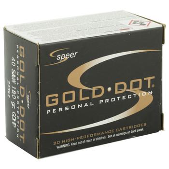 CCI/Speer Speer Gold Dot, 40S&W, 180 Grain, Hollow Point, 20 Round Box 23962, UPC : 076683239624