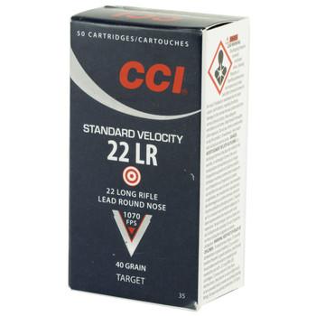 CCI/Speer Standard Velocity, 22LR, 40 Grain, Lead Round Nose, 50 Round Box 35, UPC : 076683000354