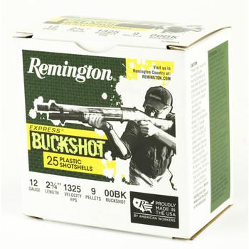 "Remington Express, 12 Gauge, 2.75"", 00 Buck, 25 Round Box 20411, UPC : 047700513904"