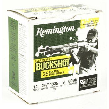 "Remington Express, 12 Gauge, 2.75"", 00 Buck, 25 Round Box 20411, UPC : 047700513904"